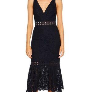 Bardot Lace Trumpet Dress